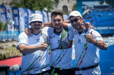 Tiro con l'arco Italia : Da dx Galiazzo, Nespoli e Pasqualucci (Fitarco)