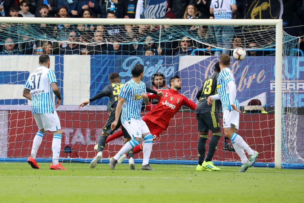 Il gol di Kevin Bonifazi del parziale 1-1 , Spal-Juventus