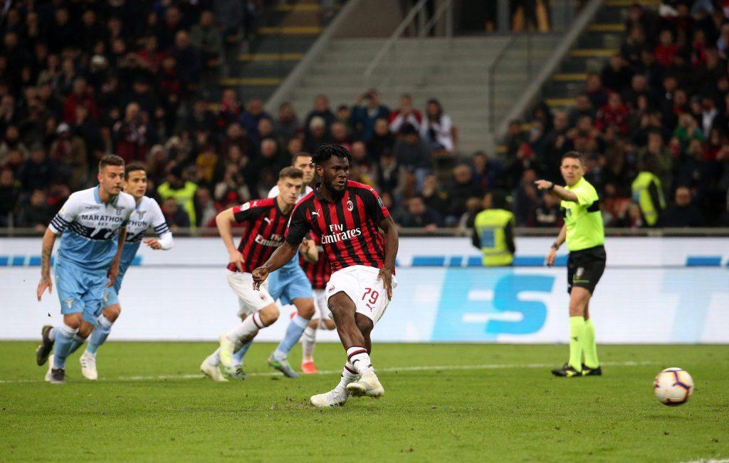 Milan-Lazio,Il rigore realizzato da Franck Kessie per l'1-0 rossonero