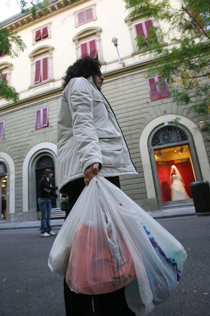 spesa con sacchetti di plastica