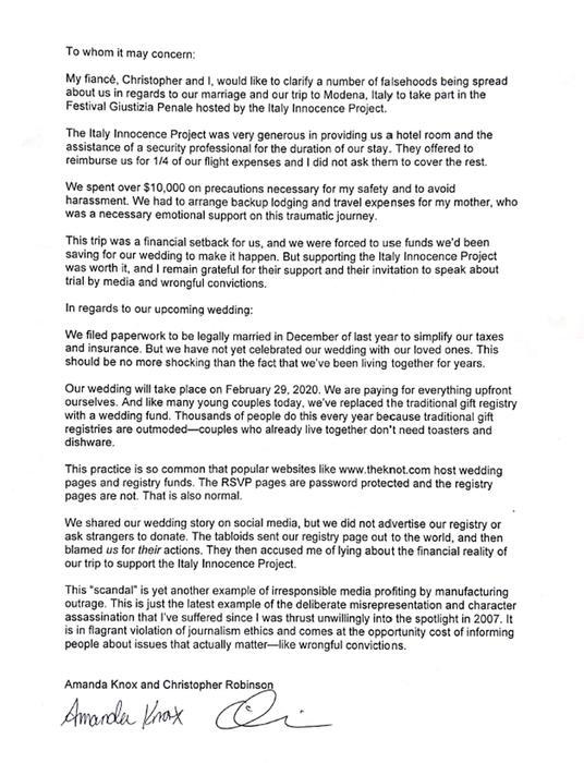 La lettera di Amanda Knox e del fidanzato