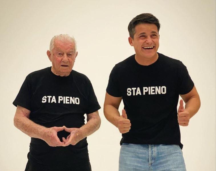 Sta pieno - Da sinistra nonno Faustino e Federico Carli